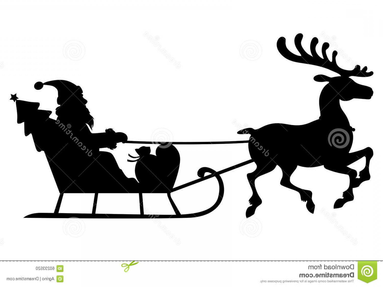 1560x1170 Stock Illustration Silhouette Santa Claus Sleigh Deer Vector