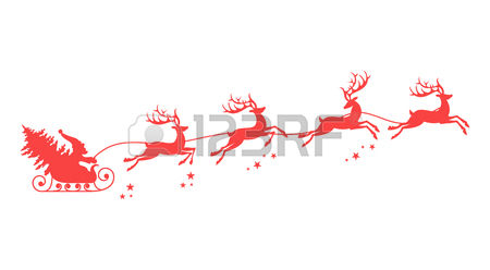 450x248 Free Santa And Reindeer Flying Clipart