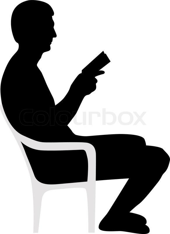 583x800 Man Reading A Book Silhouette Vector Vector Colourbox