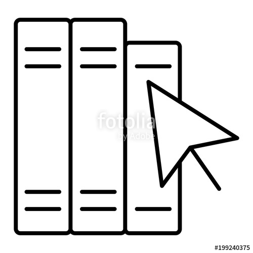 500x500 Silhouette With Black Outline Books With Cursor Arrow Isolated