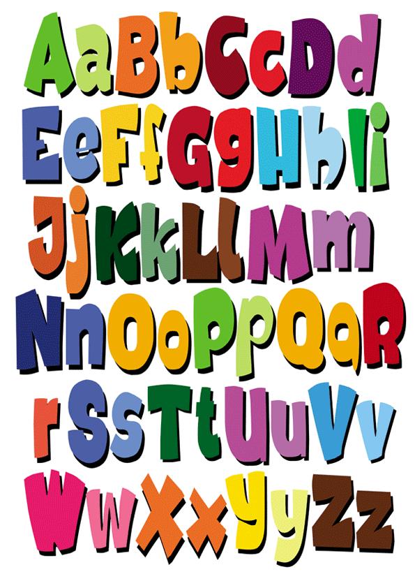 595x842 Colorido Abecedario Decorativo Fonts, Alphabet