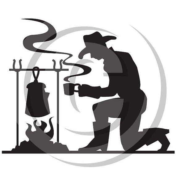 570x570 Cowboy Silhouette Making Coffee Personal Or Commercial Use