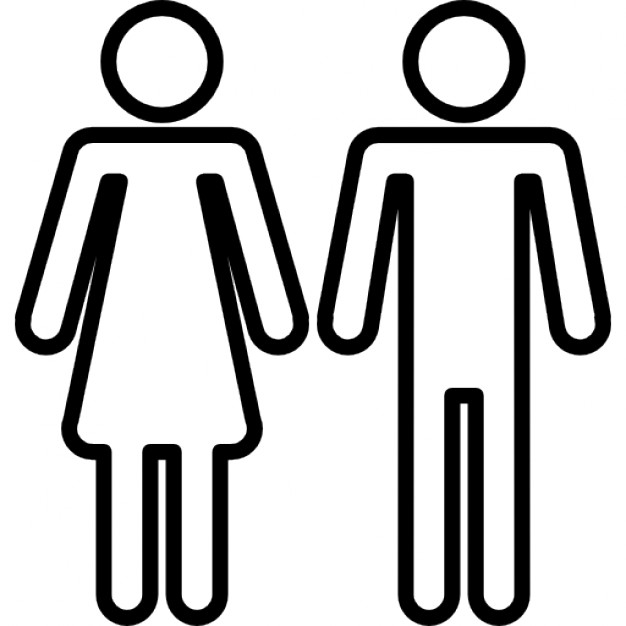 626x626 Female And Male Shapes Silhouettes Outlines Icons Free Download