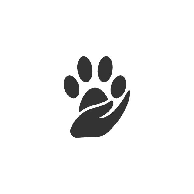 640x640 Paw Silhouette In Circle Shape And Hand Logo Template For Free