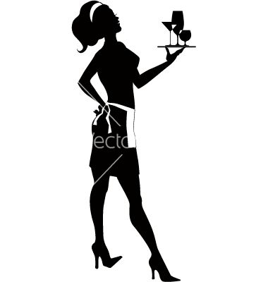 380x400 Free Vector Silhouette Of A Cocktail Waitress Vector