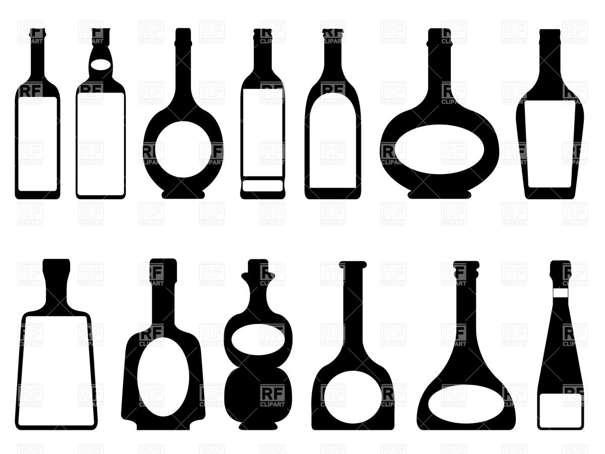 1200x900 Silhouettes Of Bottles Of Alcohol Royalty Free Vector Clip Art