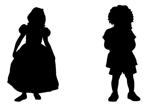 500x350 Stylish Kids Silhouette Vector Free Download Silhouette Clip Art