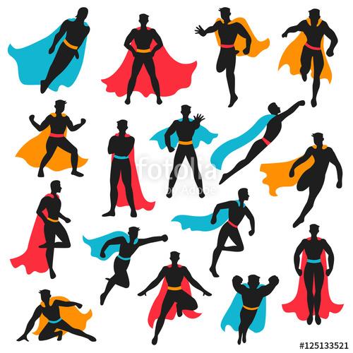 500x500 Set Of Black Superhero Silhouettes Stock Image And Royalty Free
