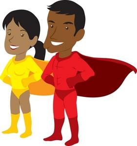 281x300 Superhero Silhouette Clipart Male And Female Free