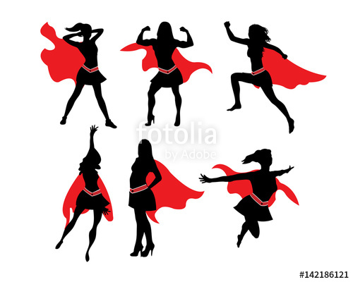 500x400 Female Superhero Silhouette Stock Image And Royalty Free Vector