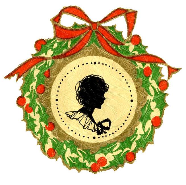 654x650 Shillouette Victorian Christmas Clipart