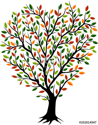 394x500 Beautiful Autumn Tree Silhouette With Different Color Leaves