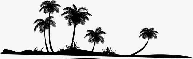 650x199 Coconut Trees Silhouette, Coco, Sketch, Sandy Beach Png And Vector