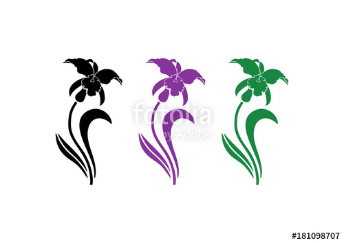 500x354 Beautiful Orchid Flower Silhouette Logo Design Stock Image