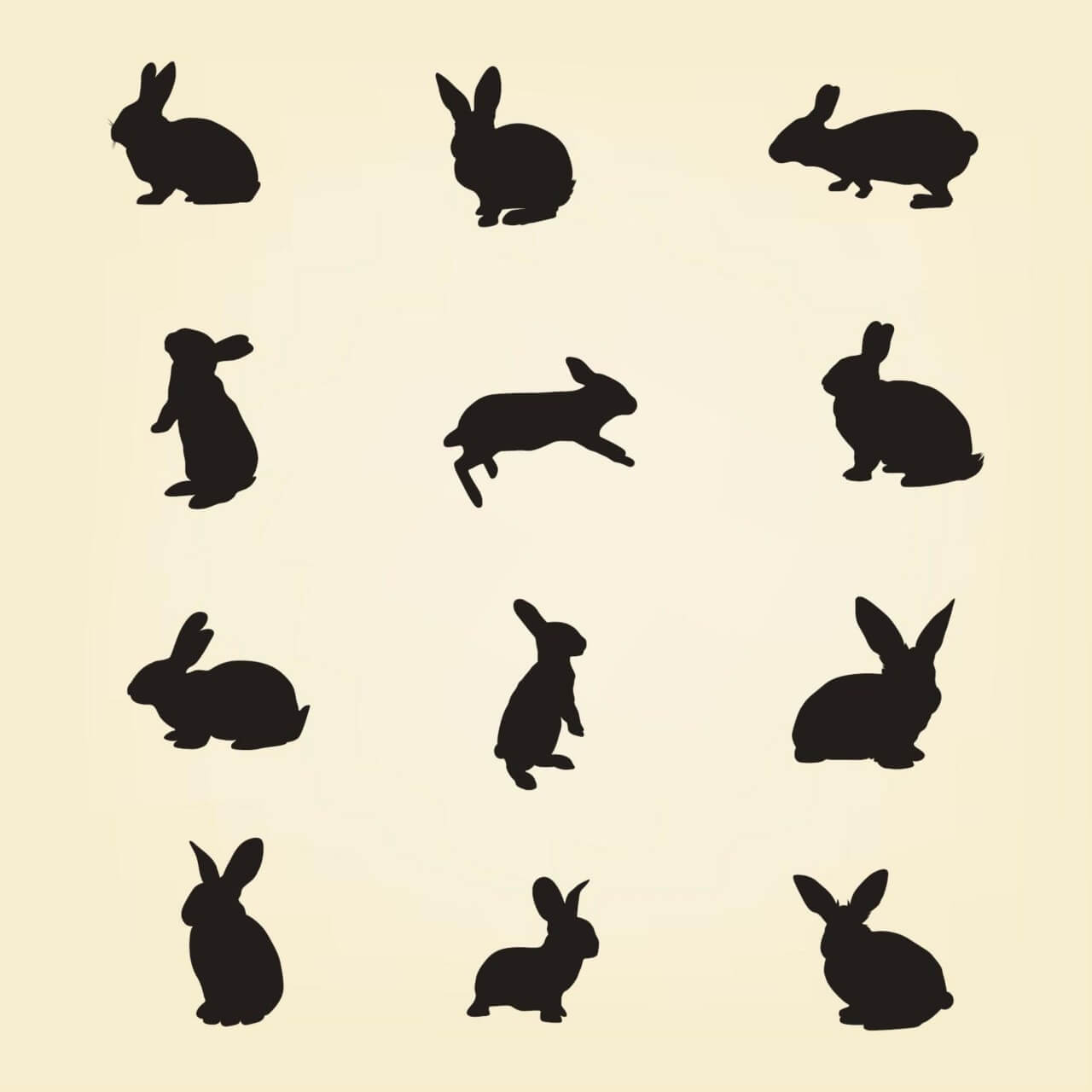 1280x1280 Free Vector Rabbit Vector Silhouette Pack