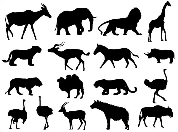 601x448 Animals Silhouettes Vector Download Free Vector Art Free Vectors