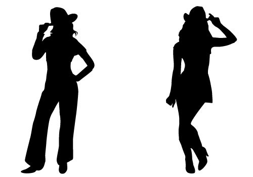 500x350 Cowgirl Silhouette Vector Free Download Two Beautiful Cowgirls