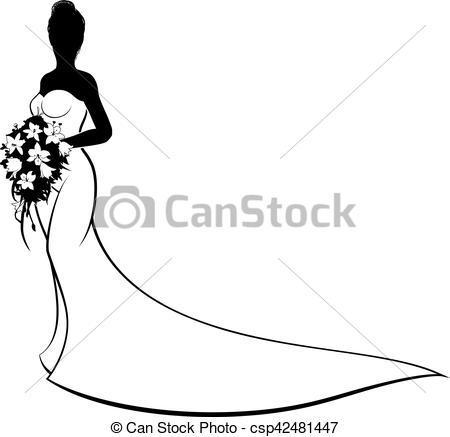 450x437 Wedding Bride Silhouette Holding Bouquet. Bride Silhouette Eps