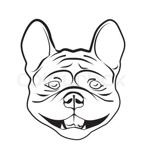 294x320 Vector Sketch Domestic Dog French Bulldog Breed Stock Vector