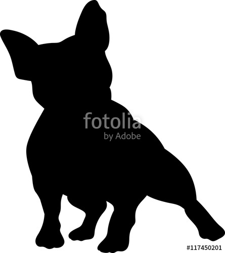 445x500 French Bulldog Vector Silhouette Stock Image And Royalty Free