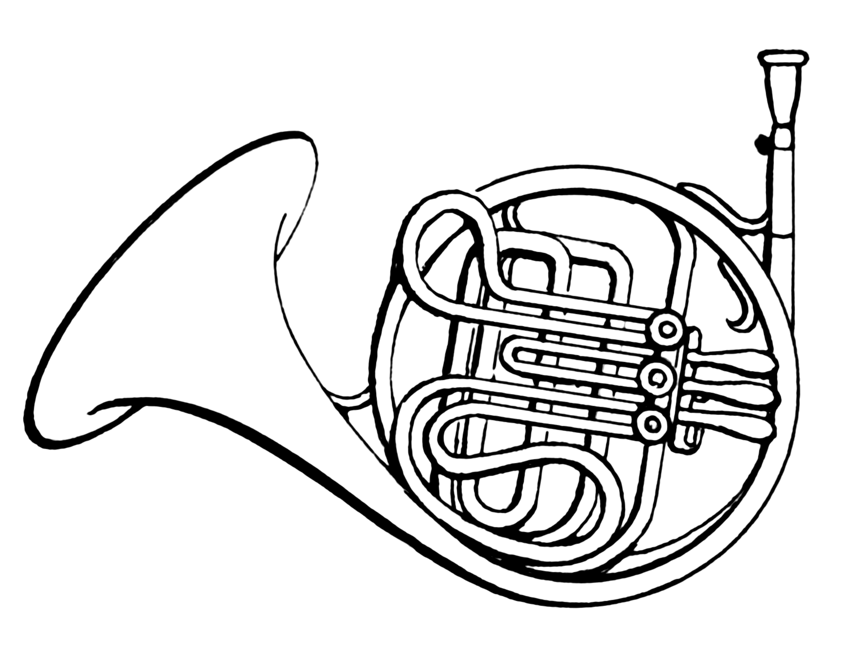 1720x1336 French Horn Clipart Black And White