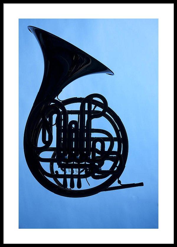 600x838 French Horn Silhouette On Blue Framed Print By M K Miller
