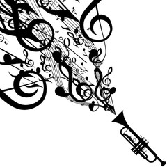 240x240 Vector Silhouette Of French Horn With Musical Symbols