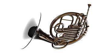 320x180 French Horn Rotate On White Background Motion Background