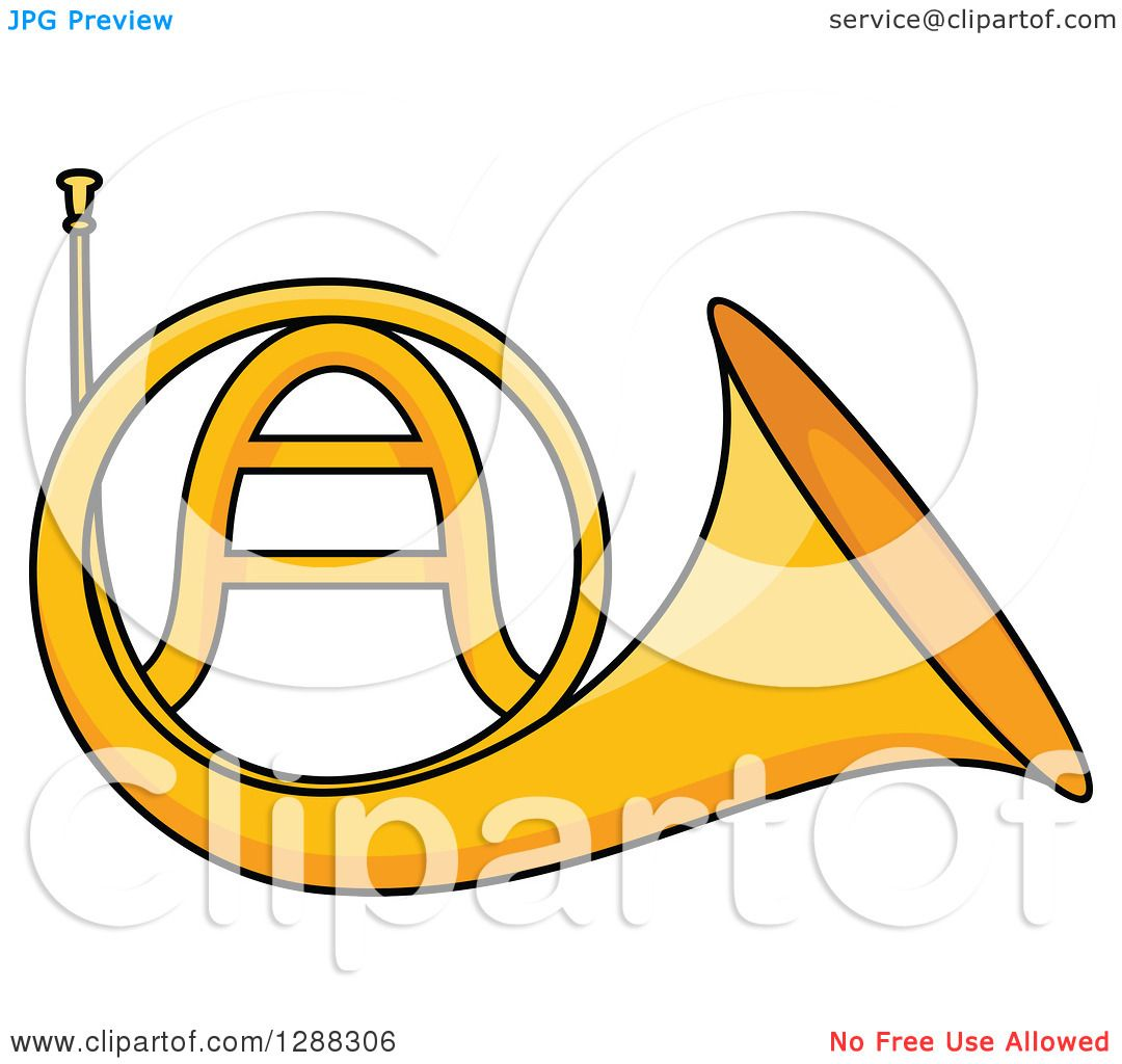 1080x1024 Clipart Of A Cartoon Golden French Horn
