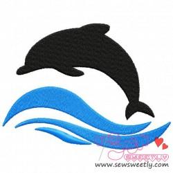 250x250 Cute Dolphin Silhouette Machine Embroidery Design