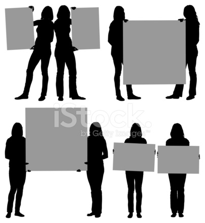 404x439 Silhouette Of Female Friends Holding Placards Stock Vector