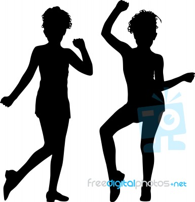 385x400 Dancing Silhouette Friends Stock Image