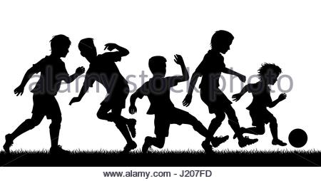 450x254 Editable Vector Silhouette Of Young Boys Having A Lively Party