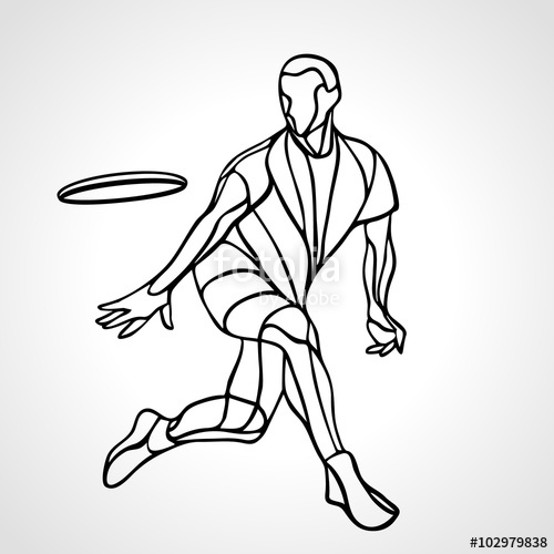 500x500 Men Playing Ultimate Frisbee 4 Silhouettes Stock Image