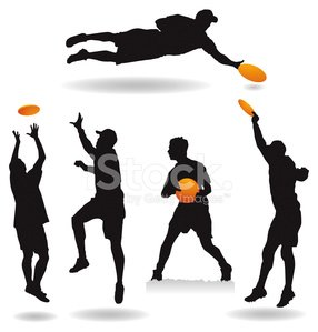 286x299 Ultimate Frisbee Silhouettes Stock Vectors
