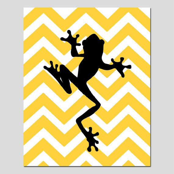 570x570 Chevron Frog Boy Nursery Art