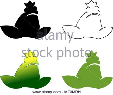 381x320 Frog Logo, Silhouette Logo Design With Green Color, Vector Icons