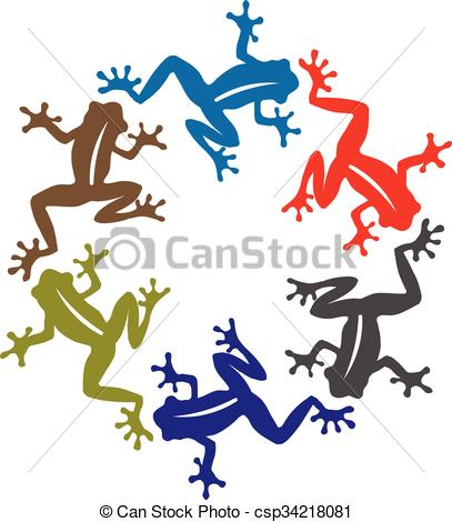 407x470 Vector Silhouette Of Frog Illustrations. Vector