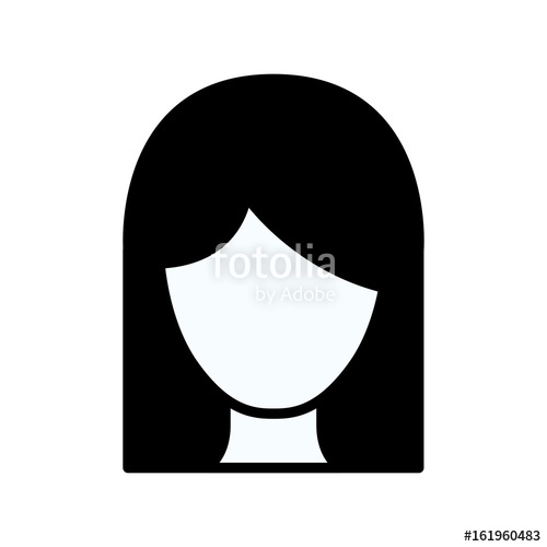 500x500 Black Silhouette Thick Contour Of Front View Faceless Woman