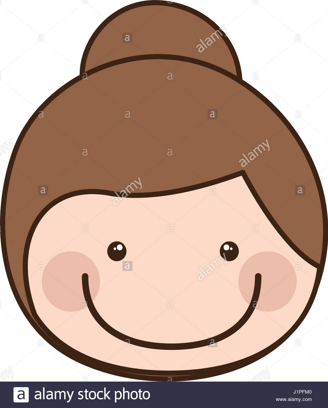1119x1390 Color Silhouette Cartoon Front Face Girl With Collected Hair Stock