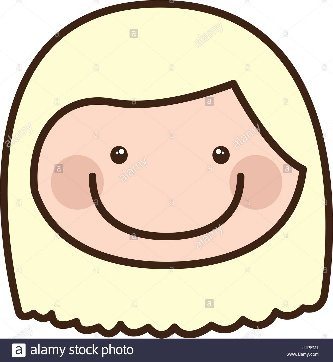 1278x1390 Color Silhouette Cartoon Front Face Girl With Short Blond Hair