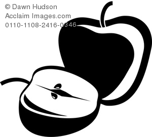 300x271 Art Silhouette Of Two Apples, A Whole Apple And An Apple Sliced