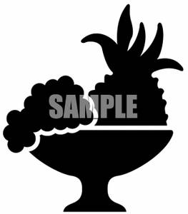 263x300 Clipart Of Pineapple And Grapes In A Fruit Bowl Silhouette