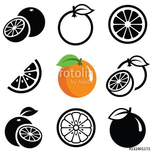 500x500 Orange Fruit Icon Collection