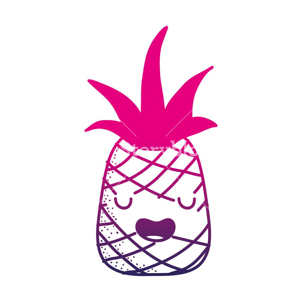 1000x1000 Color Silhouette Cute Pineapple Kawaii Funny Fruit Vector