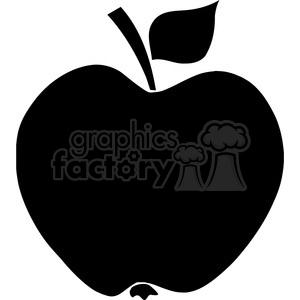 300x300 Royalty Free 12908 Rf Clipart Illustration Apple Black Silhouette