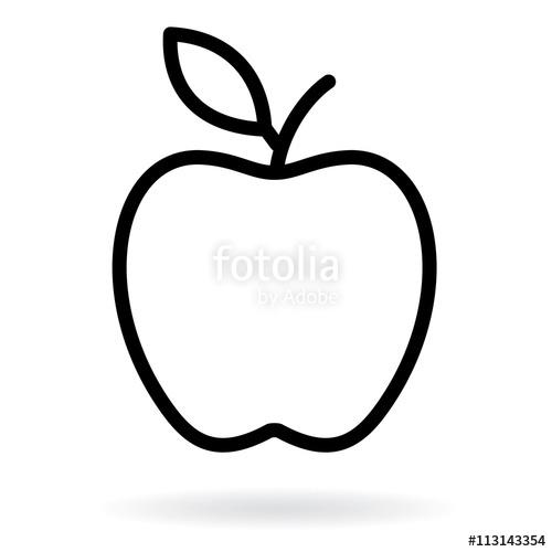 500x500 Apple Line Drawing. Apple Black Silhouette. Vector Illustration