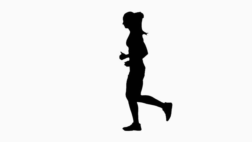 852x480 Woman Running In A Full Body Sideways Shot. Green Screen. Slow
