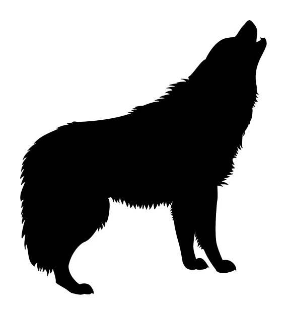 570x626 Wolf Waving Full Moon Stencil 5 Stencils Formats Svg Dwg Dxf