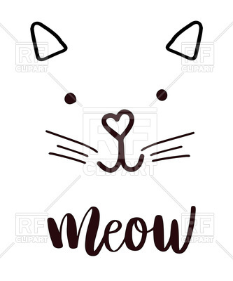 333x400 Cute Head Cat Silhouette Icon, Lettering Meow Royalty Free Vector